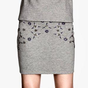 H&M Embellished Mini Sweat Skirt Size XS
